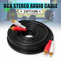 LEORY 10 M męski 2 RCA do RCA pozłacane Audio kina domowego wideo podwójna adapter stereo przewód łączący do telewizora HDTV DVD VCR