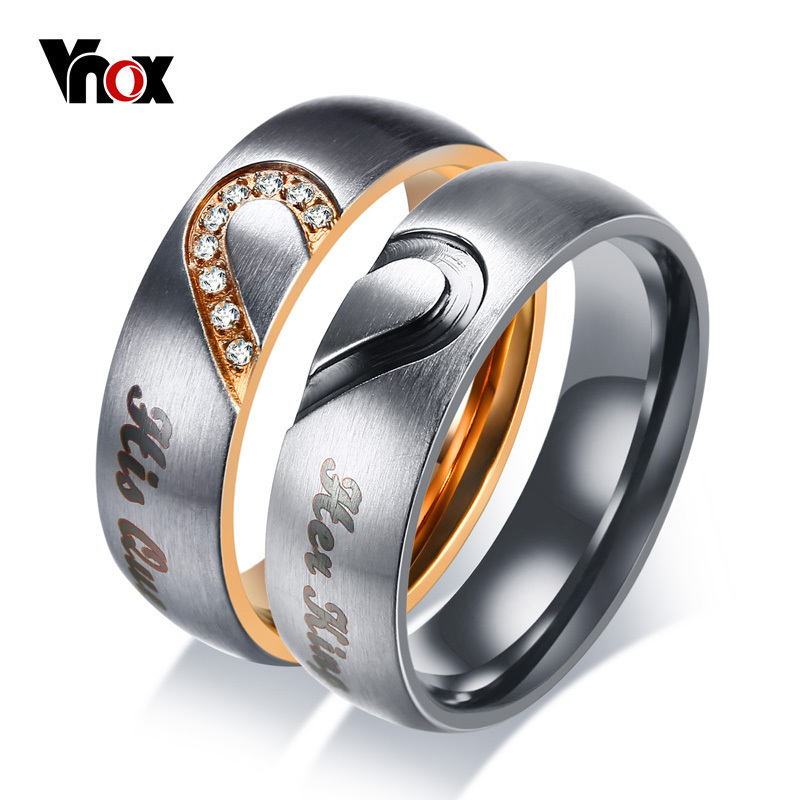 Vnox Wedding-Band-Ring Promise-Ring Couple Anniversary Engagement Stainless-Steel His-Queen