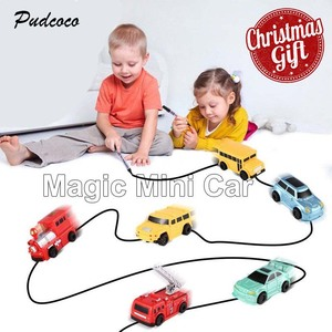 2019 Magic Pen Inductive Car Tank Truck Engineering Toy Follow-Line You Draw Toys Funny Gift For 3 to 14 Years Kid(China)