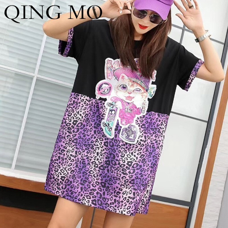 QING MO Purple Leopard T Shirt Dress Women Cartoon Cat Dress Women Patchwork T Shirt Dress White Short Sleeve Tops ZLDM095