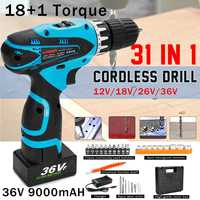 12/18/26/36V Electric Impact Drill Cordless Household Power Tool Screwdriver Set Hexagonal Sleeves 18 types Detachable for Metal