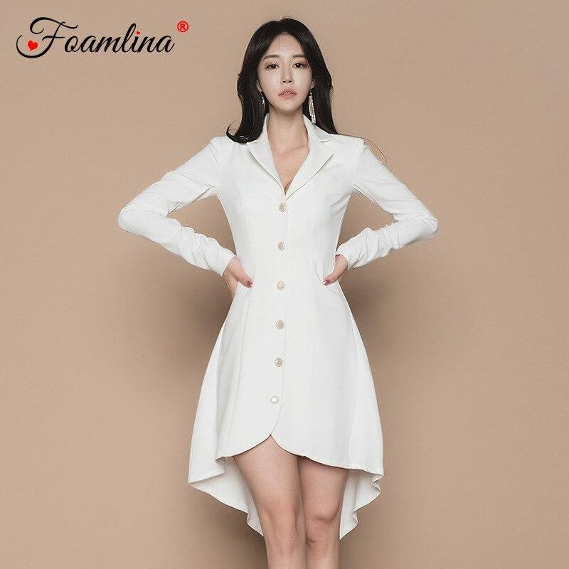 Foamlina женское белое платье, элегантное весеннее платье с v образным вырезом, длинным рукавом и пуговицами, на шнуровке, длинное ТРАПЕЦИЕВИДНО