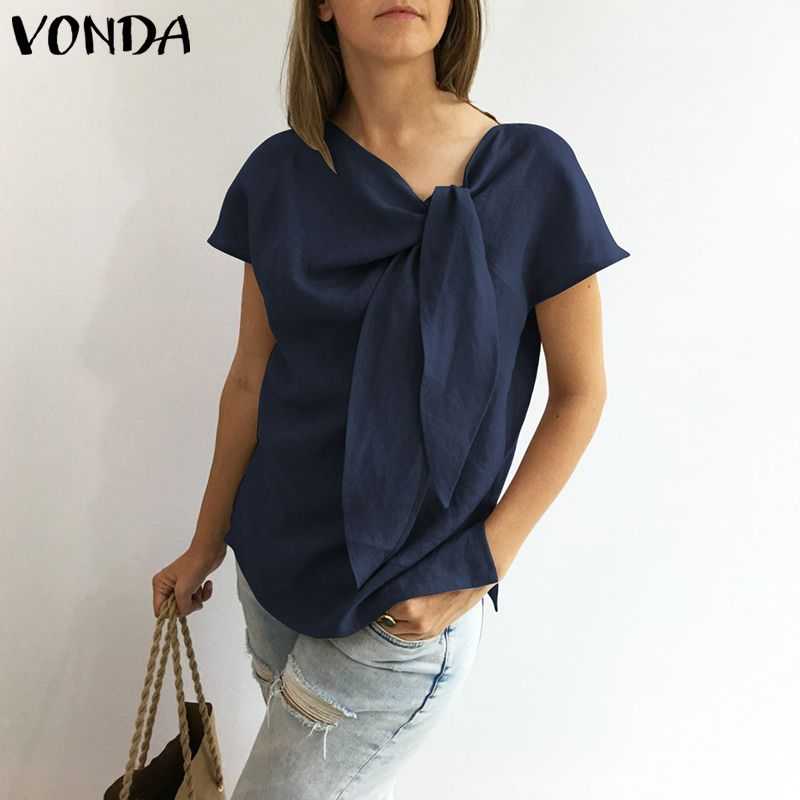 Women   Blouses     Shirts   2019 VONDA Summer Vintage O Neck Short Sleeve Tie   Shirt   Casual Loose Tops Plus Size Blusas Femininas