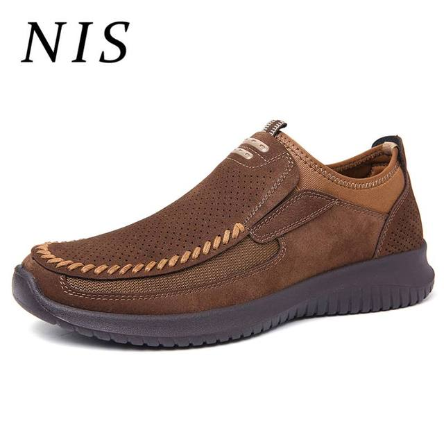 d19deb1bbc328 NIS Breathable Men Casual Shoes Handmade Business Loafers Spring Summer  Microfiber Leather Shoes Sneakers Slip on Driving Flats
