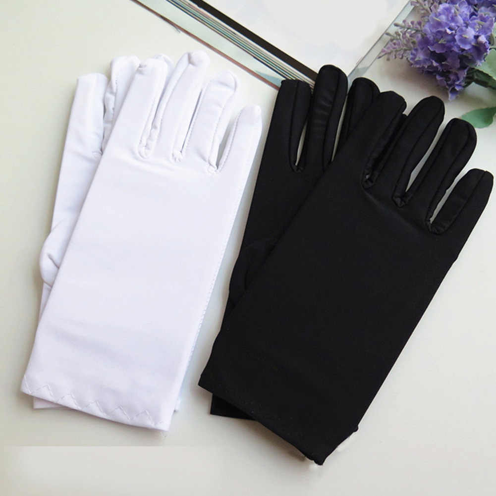 1Pair Men Black White Etiquette Short Gloves Thin Stretch Spandex Sports Driving Sun Protection Five Fingers Gloves Handschoenen