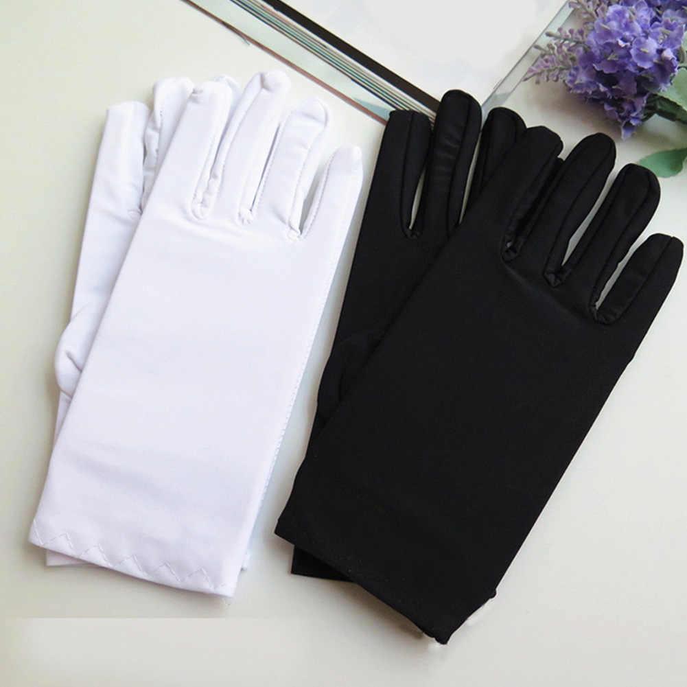 1Pair Men Black White Etiquette Short Gloves Thin Stretch Spandex Sports Driving Sun Protection Five Fingers Gloves Handschoenen