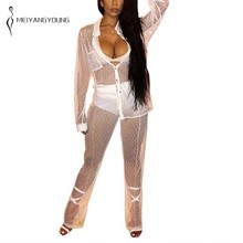 White Mesh See Through Sexy 2 Piece Set Women Long Sleeve Button Top And Flare Pants Club Party Outfits