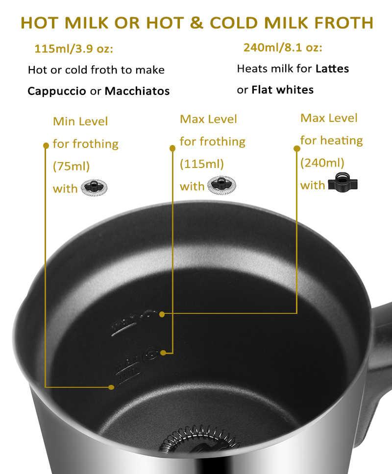 Biolomix автоматический Электрический Пенообразователь для молока с контейнером из нержавеющей стали для капучино, Кофеварка, горячая/крутая 500 Вт