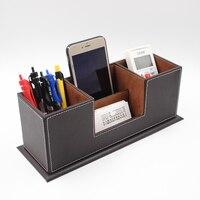 Two grid pen holder Office PU Leather Desktop Stationery Organizer Double Pen Pencil Holder