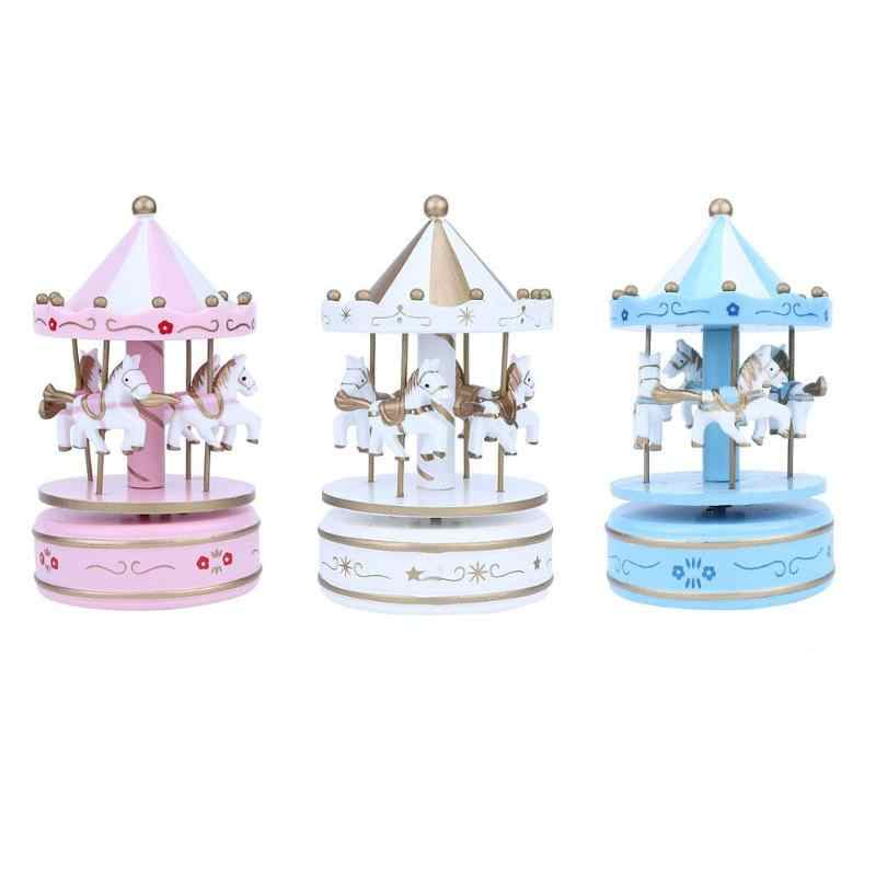 Painted Wooden Music Boxes Creative Carousel Density Plate Christmas Girl Friend Birthday Gift Home Decoration Suppliers Tools