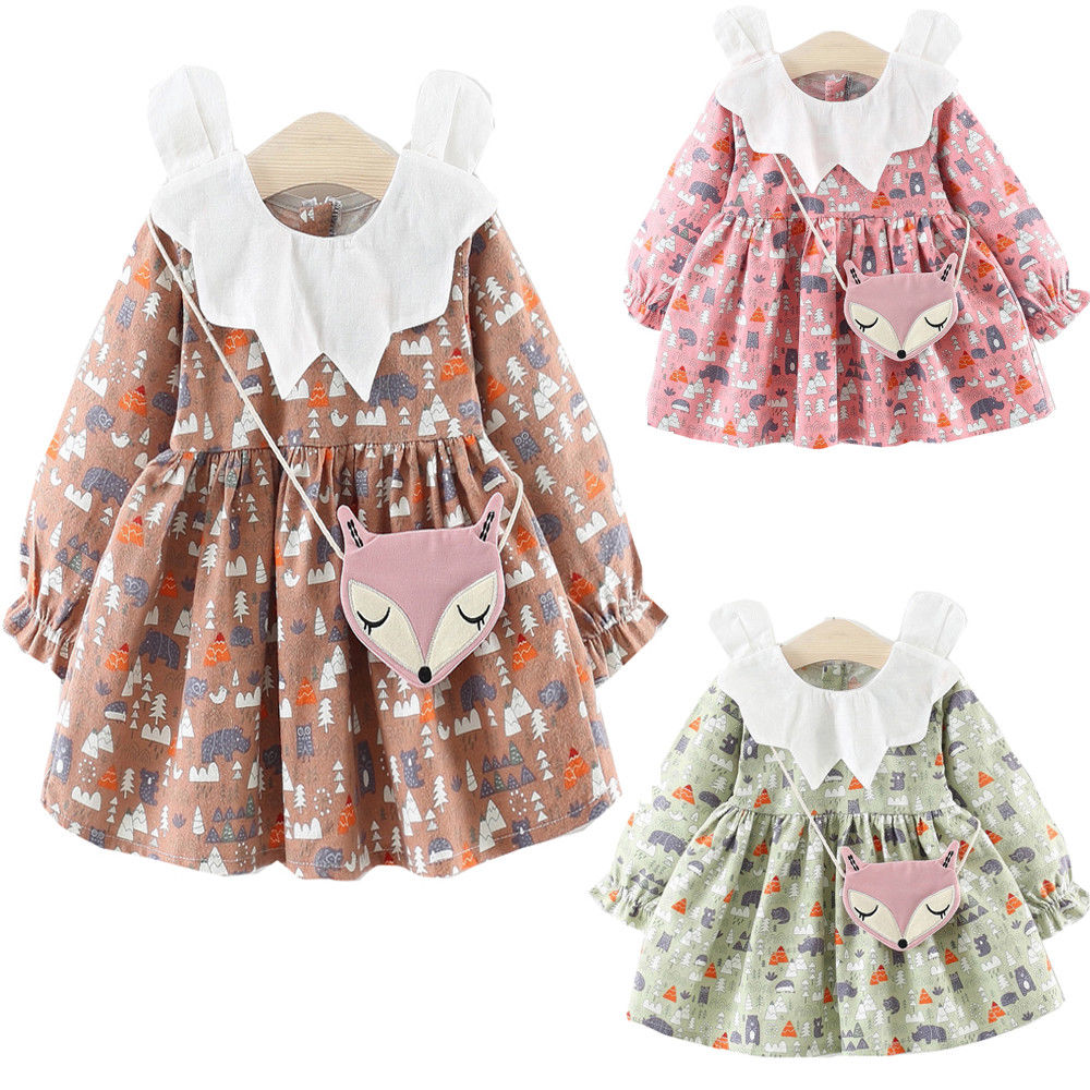 2019 Newest Style Newborn Kid Baby Girl Spring Autumn 2PCS Clothes Princess Dresses+Bag Party Pageant Adorable Clothing 6M-3Y