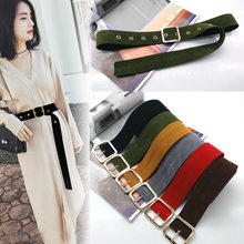 Long Velvet Belt Cloth Dress Belts Female Knot Black Waistband Red Gold Square Buckle Decorate Coat Sweater Belt Waist Seal Tide(China)