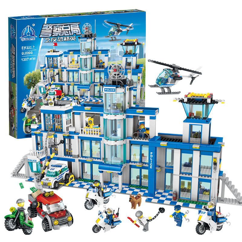 New 1397pcs Big Police Station Motorbike Helicopter Model Building Bricks Kits City Educational Toys For Kids