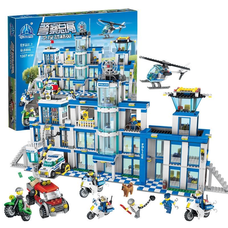 새로운 1397pcs 큰 경찰서 오토바이 헬리콥터 모델 빌딩 벽돌 키트 도시 교육 완구 어린이를위한-에서블록부터 완구 & 취미 의  그룹 1