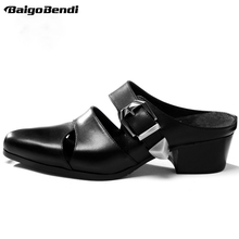 Trendy Buckle Belt Men Slides Real Lether Heels Sandals Close Toe Low Heel Slippers Trendy Summer Shoes Pointed Toe stiletto pointed toe pu heels