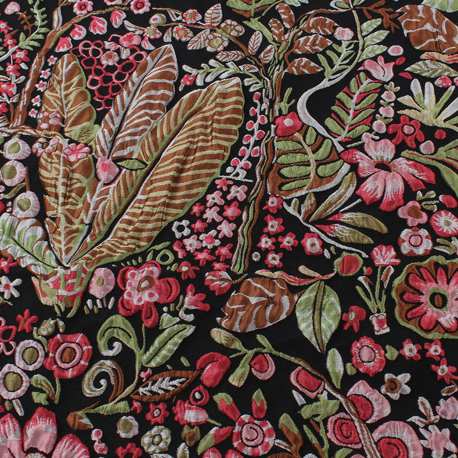 Copper Multi Drapery Upholstery Fabric Embroidered Faux Silk Floral