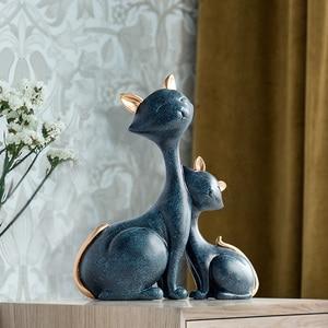 Image 5 - 수 지 고양이 인형 미니어처 장식 동물 데스크탑 선물 고양이 동상 장식품 홈 장식 카사 거실 액세서리
