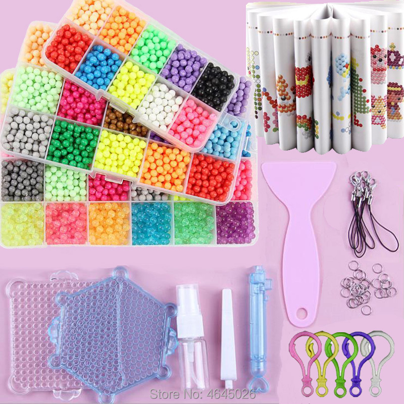 Fuse Beads Magic Water Creative Beads DIY Set Pegboard Kit Craft Girls Gift Kids Toys For Children 8 10 Years Pen Tweezer Tool