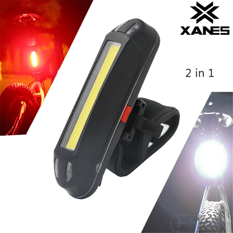 XANES 2 In 1 500LM Lights USB Rechargeable LED Portable Light Taillight Ultralight Safety Lamp Warning Night Riding Accessories