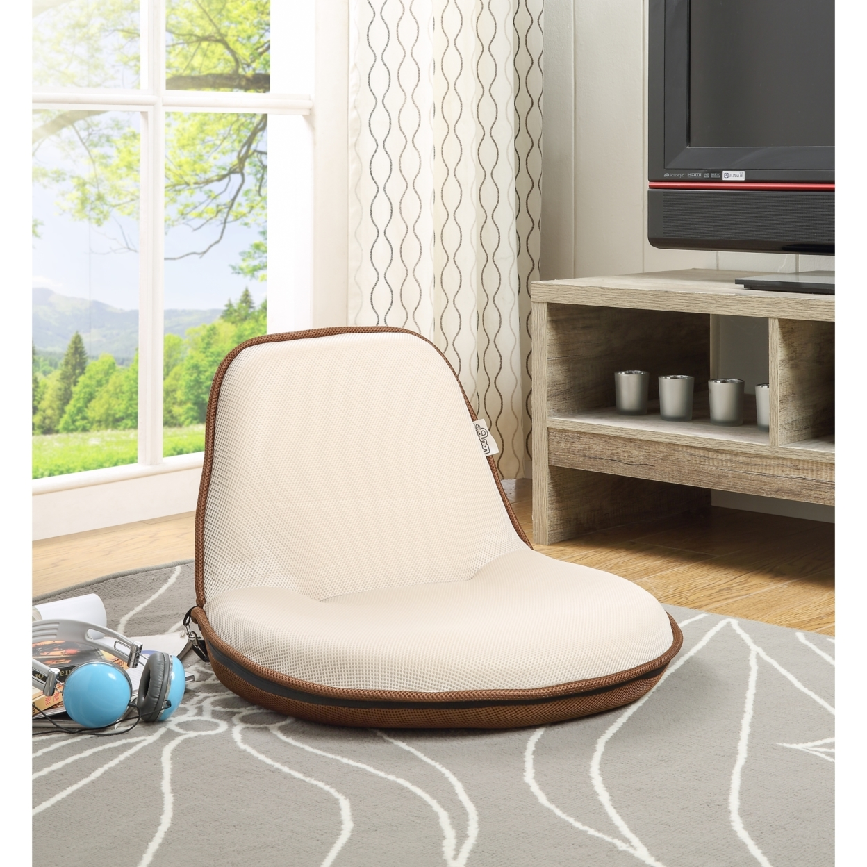 Us 76 05 Loungie Quickchair Mesh Floor Chair Foldable Portable With Strap Indoor Outdoor By Inspired Home In Living Room Chairs From Furniture