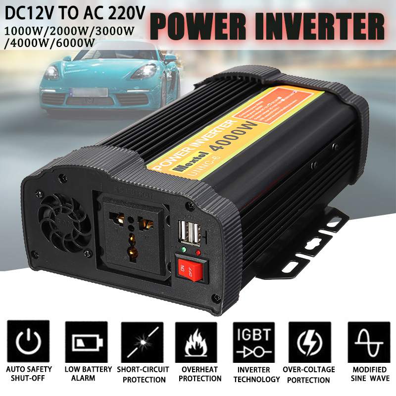 Solar Power Inverter 2000/6000/8000/12000W Peaks 12V 220V Modified Sine Wave Voltage Transformer Converter Car Charge USBSolar Power Inverter 2000/6000/8000/12000W Peaks 12V 220V Modified Sine Wave Voltage Transformer Converter Car Charge USB