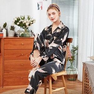 Image 5 - 2019 Womens Pajamas Sets With Pants Pyjamas Satin Sleepwear Silk Pijama Loose Two Piece Long Sleeve Flower Print Nightwear