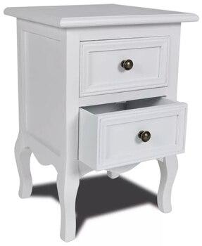 VidaXL тумбочки для спальни с двумя ящиками белый деревянный стол сделанный вручную мебель для спальни простой стол для гостиной