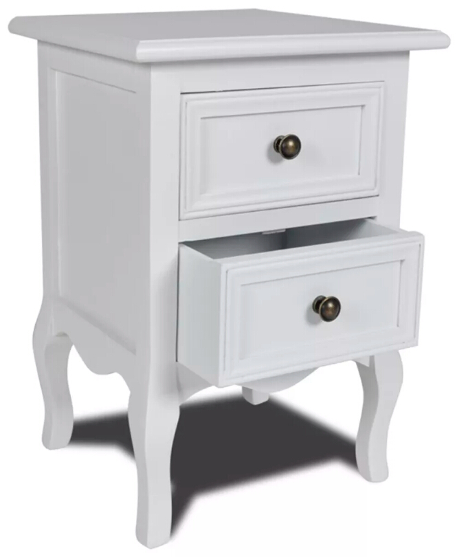 VidaXL Bedroom Nightstands With Two Drawers White Wooden Table Made By Hand Bedroom Furniture Simple Table For Living Room