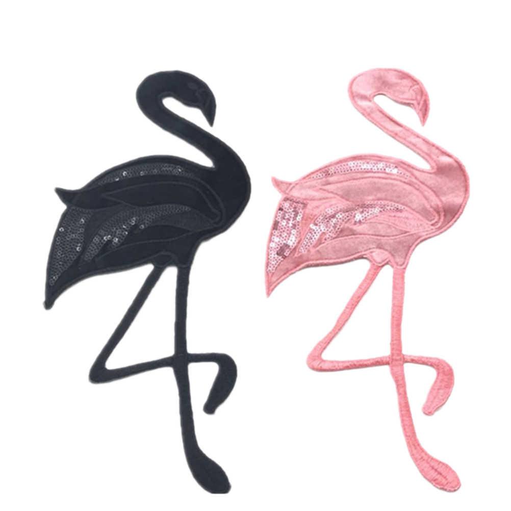 2 piezas de parches de ropa de flamenco accesorios de costura encantadores parches bordados apliques de tela para suéter mochilas camisetas camisas