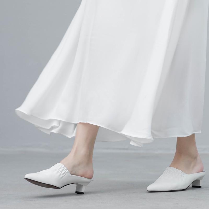 De Pointu Femmes Mode Talons Blanc Nouveau Carré Haute D'été deat2019 Pour Marée white Chaussures 10sj061 Souple Black Cuir Printemps Pu Pantoufles En Orteil OPX80wkn