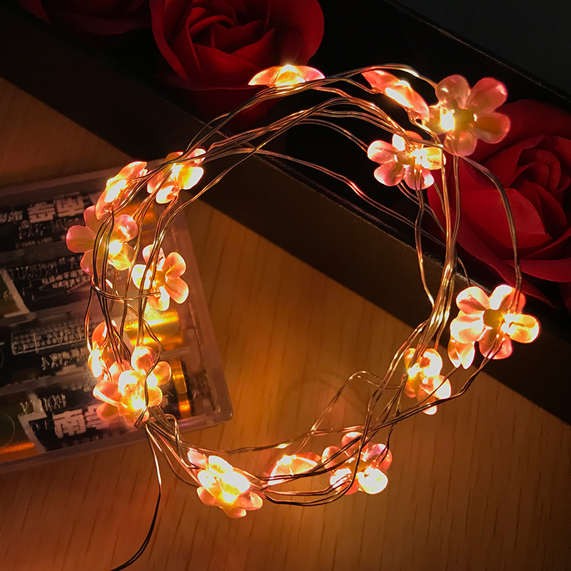 78.74 in. red flowers fairy light string (20) LED warm ...