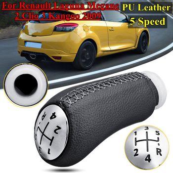 หนัง 5 เกียร์เกียร์ Shift Knob Head Stick สำหรับ Renault Laguna Megane 2 Clio 3 2003-2009 kangoo 2009 เปลี่ยน
