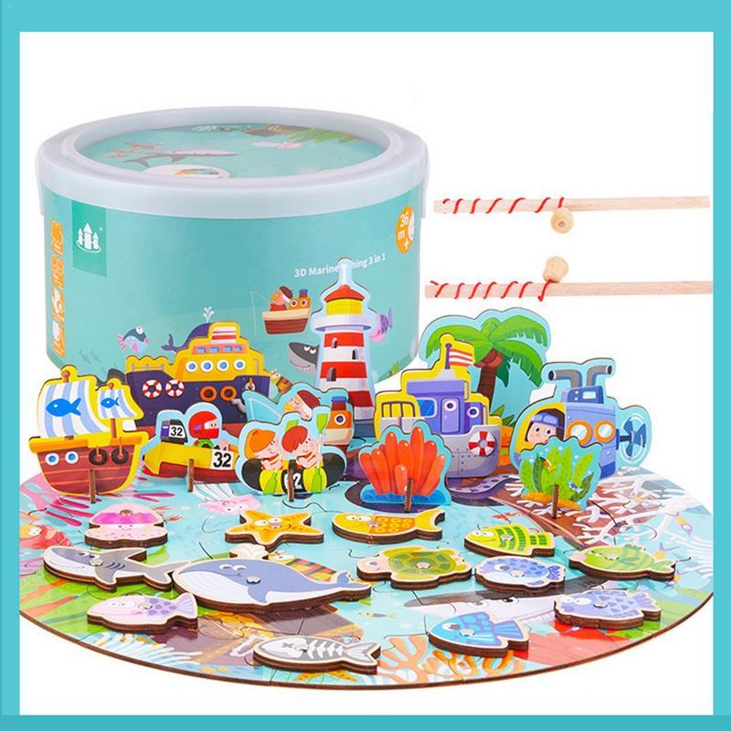De La Petite Enfance L'éducation Puzzle De Pêche Magnétique Puzzle 3 Dans 1 3D jouet en bois Ensemble Pour Jeunes Enfants jouets éducatifs