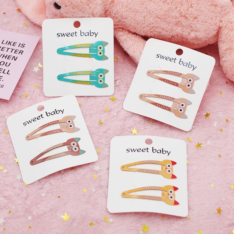 2PCS Cute Printed Cat BB Clips Hairpins Girls Hair Accessories Children Headwear Baby Hair Clips Headdress
