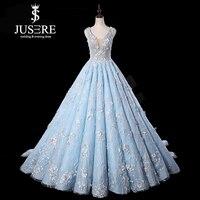 JUSERE robede mariage Light Blue Wedding Dress 3D Flower Embroidery Sleeveless Sweep Train Bridal Gowns vestido de noiva 2019