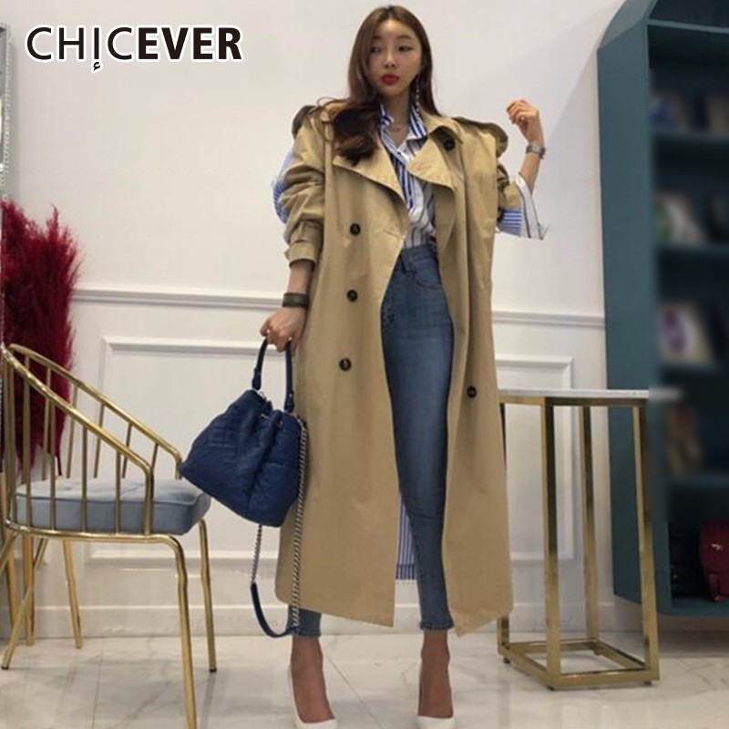 CHICEVER Patchwork Striped Women s Windbreaker Lapel Three Quarter Sleeve High Waist Bandage Double Breasted Windbreakers