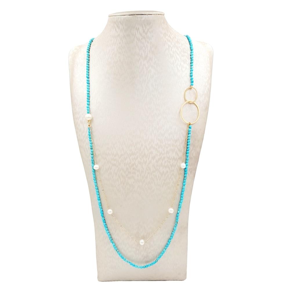 LiiJi Unique Turquoises perle d'eau douce chaîne en or 925 argent Sterling couleur or Double cercles Long collier bijoux délicats