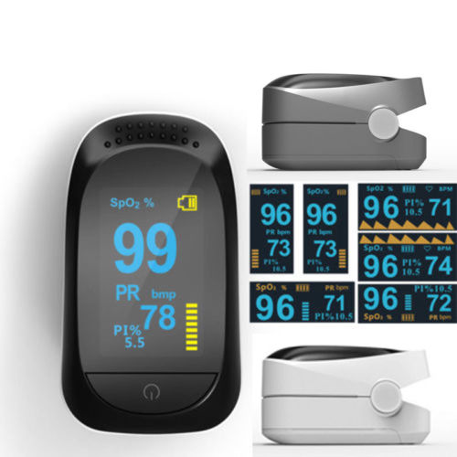 Finger Pulse Oximeter OLED SPO2 PR PI ODI Sleep Monitor 8 Hours Health Care Emergency Kits