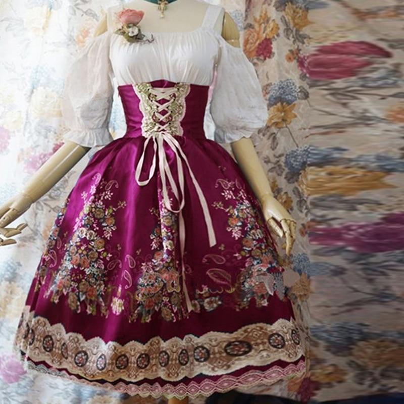 Umeko femmes robe épaule dénudée Lolita Style gothique robe Cosplay robe de grande taille Vintage imprimé manches bouffantes Bandage robe 2019