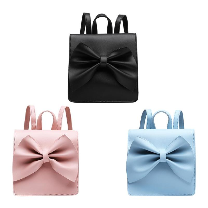 Cute Bowknot Mini Backpack Women Leather Girls School Travel Shoulder Bags