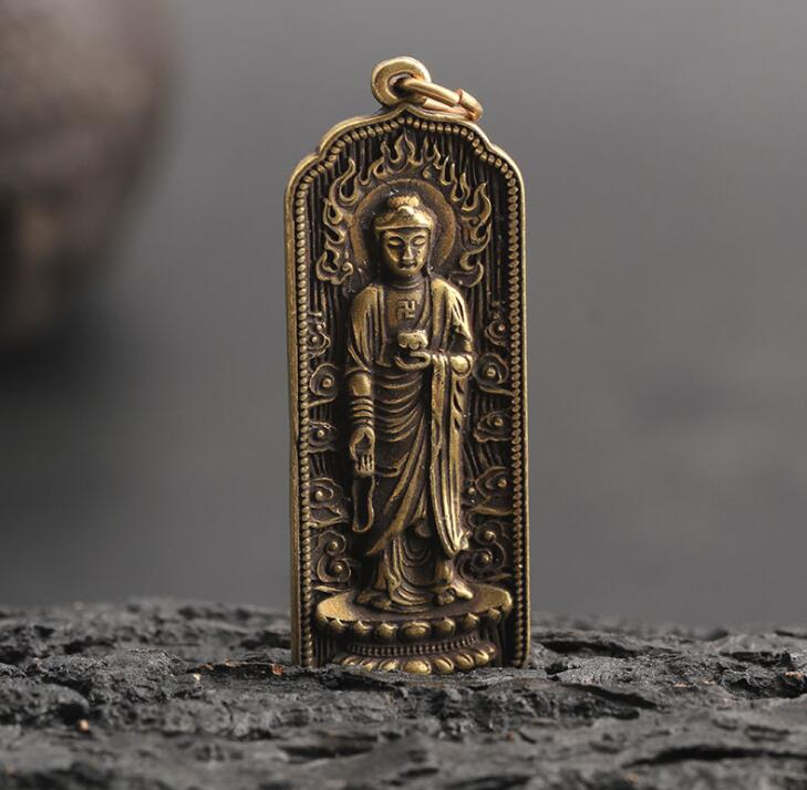 Collection Chinese Brass Carved Guan Yin Kwan-yin Bodhisattva Exquisite Small Pendant Statues