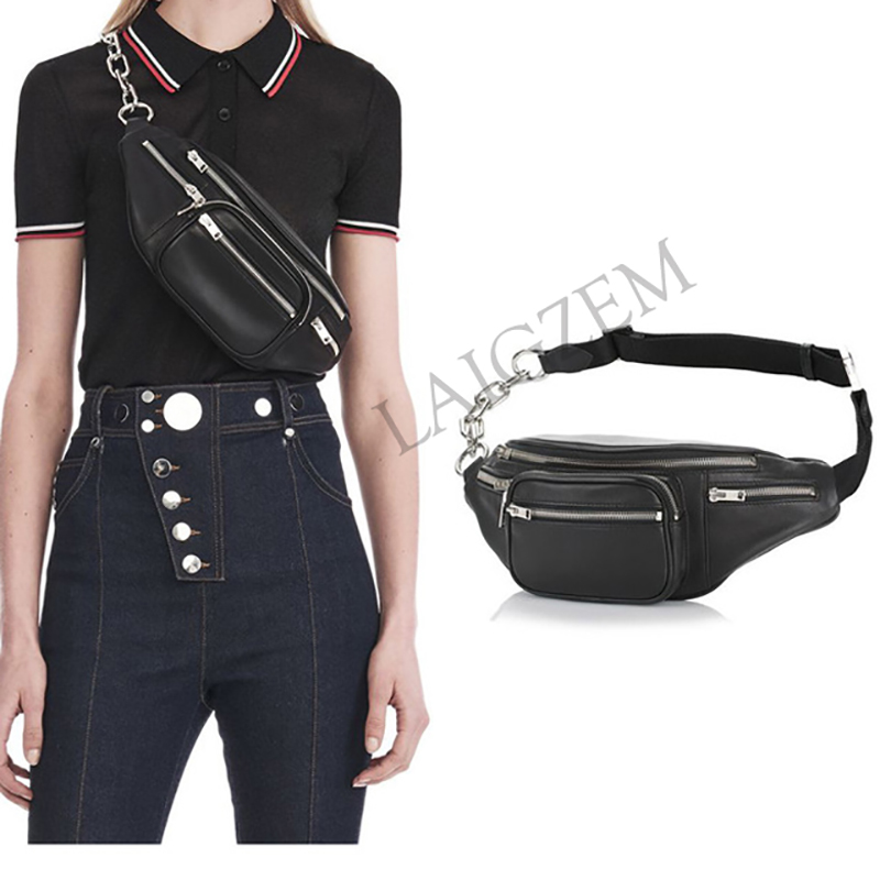 BERZIMER Unisex Women Men Waist Packs Chest Belt Bags Soft Genuine Leather Waterproof Outdoor Motor Belly Crossbody Bags Purse