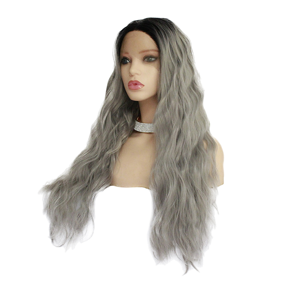 26 inch Natural Long Wave Synthetic Wig Front Lace Fluffy Wavy Wig Heat Safe Wigs Black Gray dyed perm layered long wavy center parting synthetic wig