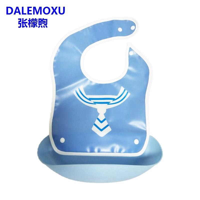 DALEMOXU Detachable Baby Bibs Plastic Waterproof EVA Breastplate Drool Slab Eat Cartoon Apron For Feeding Kids things