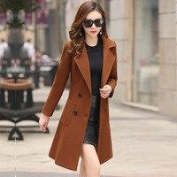 Elegant Autumn Winter Woman Wool Coat 2018 Fashion Manteau Femme Women Long Jacket Army/Green Plus Size Outwear 3xl 4xl Overcoa