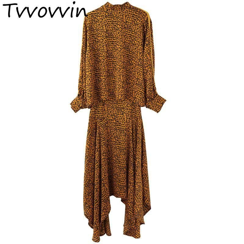 Femmes ensembles à manches longues léopard Pring chemise avec taille haute irrégulière jupe deux pièces ensemble femmes 2 pièces jupe ensembles nouveau R212