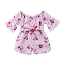0-5T Princess Baby Girl Floral Print Romper Long Sleeve Jumper Sunsuit Set Holid