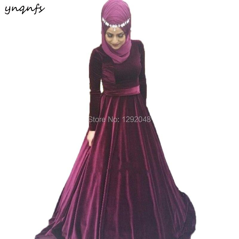 YNQNFS ED218 A Line Burgundy Velvet Hijab Scarf Long Sleeves Muslim   Bridesmaid     Dresses   Robe de Soiree Abiye gece Elbisesi 2018