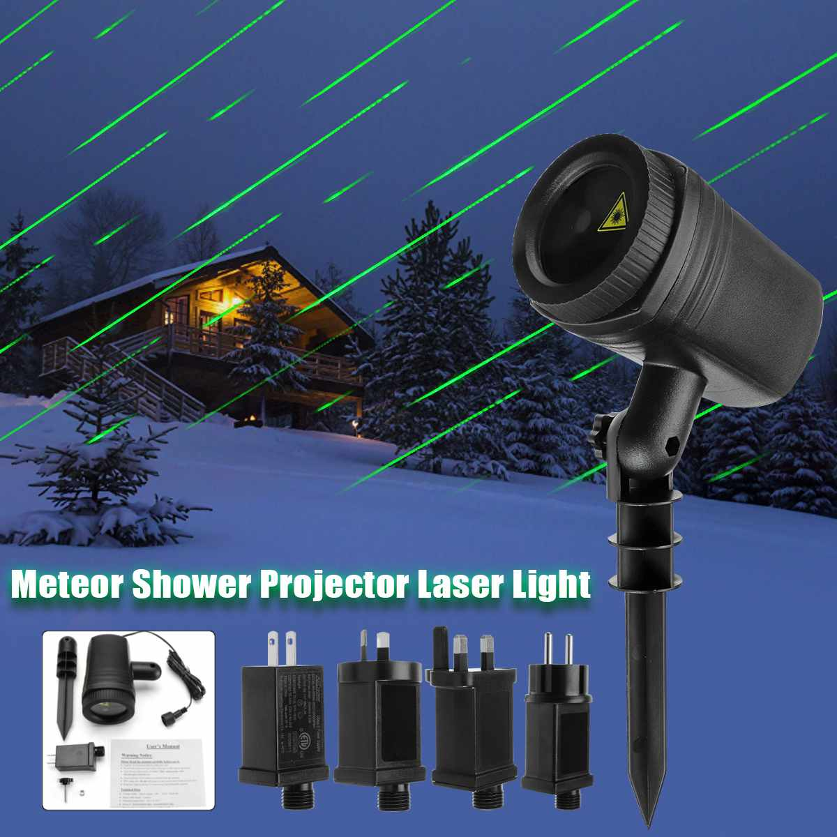 Christmas Meteor Shower Projector Laser LED Light Waterproof Lamp AC 100 240V Lawn Garden Decor Directional Projection ABS