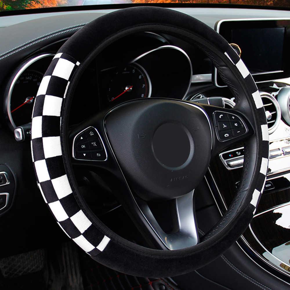 LEEPEE peluş kumaş oto dekorasyon araba direksiyon kılıfı otomatik direksiyon kapakları çapı 38cm araba aksesuarları evrensel